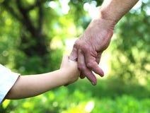 Manos abuelo y nieto Imagen de archivo libre de regalías