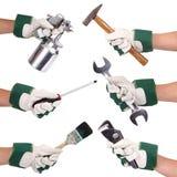Manos aisladas con los guantes y collage de las herramientas en el fondo blanco Fotos de archivo