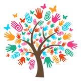 Manos aisladas del árbol de la diversidad Fotografía de archivo libre de regalías