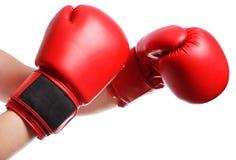 Manos aisladas en guantes de boxeo rojos en el fondo blanco fotografía de archivo libre de regalías