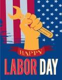 Manos americanas del Día del Trabajo para arriba ilustración del vector