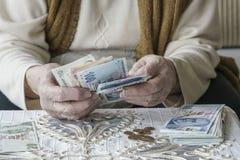 Manos arrugadas que cuentan billetes de banco de la lira turca Fotografía de archivo