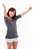 Manos asiáticas jovenes felices de la muchacha para arriba Fotos de archivo