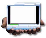 Manos asimiento y presentación del vídeo de Media Player de la oferta