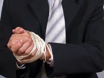 Manos atadas del hombre de negocios Imagen de archivo libre de regalías