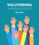 Manos aumentadas gente, brazos de votación El ofrecerse voluntariamente, la caridad, la donación y la solidaridad vector concepto stock de ilustración