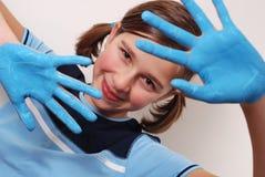 Manos azules Imagen de archivo libre de regalías