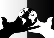 Manos blancos y negros y glob ilustración del vector