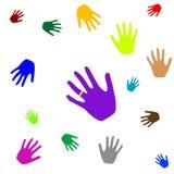 Manos coloreadas Imagen de archivo libre de regalías