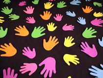 Manos coloridas Imágenes de archivo libres de regalías
