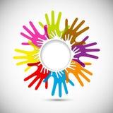 Manos coloridas del vector Imagen de archivo libre de regalías