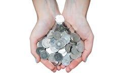 Manos completas del dinero fotos de archivo