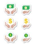 Manos con el billete de banco del dólar, iconos de la moneda fijados Imagen de archivo libre de regalías