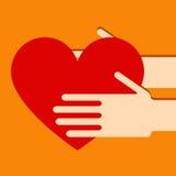 Manos con el corazón Foto de archivo