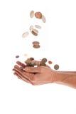 Manos con el dinero Foto de archivo libre de regalías