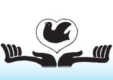 Manos con el pájaro en corazón Foto de archivo libre de regalías