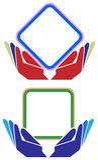 Manos con el sistema cuadrado del logotipo del marco Imagen de archivo