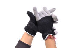 Manos con guantes Fotos de archivo