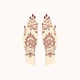 Manos con Henna Mehendi Patterns Artes tradicionales del ejemplo del vector Fotografía de archivo libre de regalías