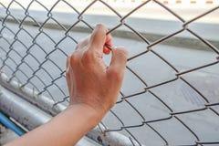 Manos con la cerca de acero de la malla, mano en cárcel Imagen de archivo