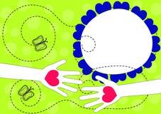 Manos con la tarjeta de felicitación del día de primavera de los corazones libre illustration