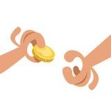 Manos con las monedas de oro foto de archivo libre de regalías