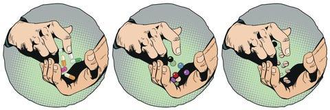 Manos con las píldoras Ilustración común Imagen de archivo libre de regalías