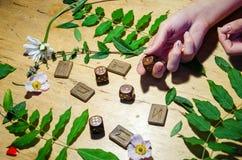 Manos con los anillos, las runas y la menta Fotografía de archivo libre de regalías