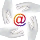Manos con los guantes, recorte Imagen de archivo libre de regalías