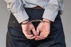 Manos criminales bloqueadas en manillas Opinión del primer fotos de archivo