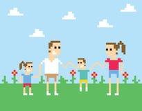 Manos de Art Image Of Family Holding del pixel en parque ilustración del vector