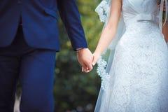 Manos de la explotación agrícola de los pares de la boda Foto de archivo libre de regalías