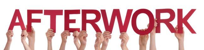 Manos de la gente que llevan a cabo la palabra recta roja Afterwork Imagen de archivo