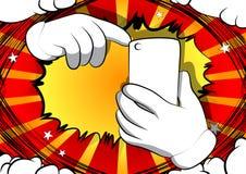 Manos de la historieta usando un teléfono móvil ilustración del vector