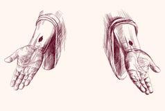 Manos de la mano de Jesus Christ dibujadas Imagen de archivo libre de regalías