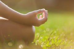 Manos de la muchacha en actitud de la meditación de la yoga Fotos de archivo