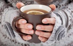Manos de la mujer con la bebida caliente imagen de archivo libre de regalías