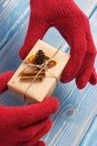 Manos de la mujer en guantes con el regalo adornado para la Navidad o la otra celebración Imagen de archivo libre de regalías