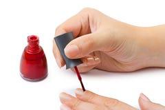 Manos de la mujer - esmalte de uñas Fotografía de archivo