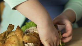 Manos de la mujer gorda con la carne de rasgado del trastorno alimentario del pollo asado entero almacen de video