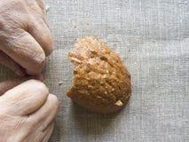 Manos de la mujer mayor, foco suave selectivo Imagen de archivo libre de regalías