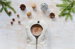 Manos de la mujer que llevan a cabo concepto del Año Nuevo de la Navidad del chocolate caliente de la bebida de la taza Imagen de archivo libre de regalías