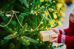 Manos de la mujer que llevan a cabo el regalo de Navidad fotos de archivo libres de regalías