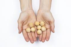 Manos de la mujer que sostienen bolas de madera Fotos de archivo