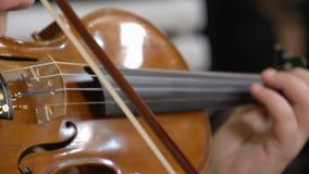 Manos de la mujer que tocan el violín