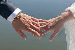Manos de la novia y del novio Fotografía de archivo libre de regalías