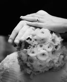 Manos de la novia y del novio foto de archivo