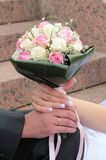 Manos de la novia y del novio con los anillos Imágenes de archivo libres de regalías