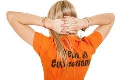 Manos de la parte posterior de la naranja del preso detrás de la cabeza Imágenes de archivo libres de regalías