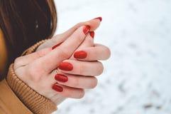 Manos de las muchachas en frío en día de invierno Imagen de archivo libre de regalías